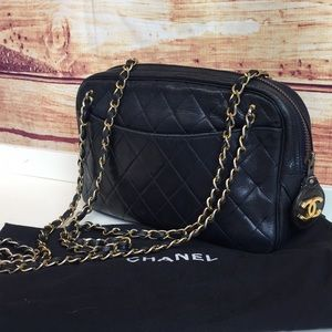Vintage Chanel Navy Quilted Double Chain Bag